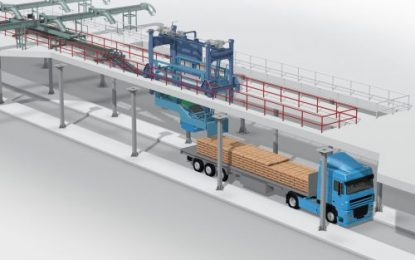 Fully automatic loading of bags on trucks